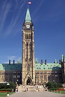 AJ2928, Ottawa, Parliament, Ontario, Canada, The Peace Tower dominates the Parliament Buildings on Parliament Hill in Ottawa the capital city of Canada in the Province of Ontario.