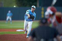 North Carolina Tar Heels starting pitcher J.B. Bukauskas (38) in action against the North Carolina State Wolfpack in Game Twelve of the 2017 ACC Baseball Championship at Louisville Slugger Field on May 26, 2017 in Louisville, Kentucky. The Tar Heels defeated the Wolfpack 12-4. (Brian Westerholt/Four Seam Images)