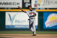 San Jose Giants second baseman Jalen Miller (2) makes a throw to first base during a California League game against the Modesto Nuts at John Thurman Field on May 9, 2018 in Modesto, California. San Jose defeated Modesto 9-5. (Zachary Lucy/Four Seam Images)