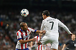Real Madrid's Cristiano Ronaldo (R) and Atletico del Madrid´s Joao Miranda during quarterfinal second leg Champions League soccer match at Santiago Bernabeu stadium in Madrid, Spain. April 22, 2015. (ALTERPHOTOS/Victor Blanco)