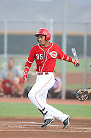 Jose Siri #35 of the AZL Reds bats against the AZL Brewers at the Cincinnati Reds Spring Training Complex on July 5, 2014 in Goodyear Arizona. AZL Reds defeated the AZL Brewers, 7-2. (Larry Goren/Four Seam Images)