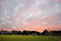 General view as the sun sets over Mile End Stadium - Bethnal Green United vs Stansted - Essex Senior League Football at the Mile End Stadium - 17/08/11 - MANDATORY CREDIT: Gavin Ellis/TGSPHOTO - Self billing applies where appropriate - 0845 094 6026 - contact@tgsphoto.co.uk - NO UNPAID USE.