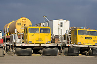 Vehicles designed to travel on tundra and access the oil and gas industry on Alaska's Arctic North Slope. Prudhoe Bay, Alaska.