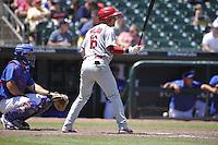 Memphis Redbirds Charlie Tilson (16) bats during the Pacific Coast League game against the Iowa Cubs at Principal Park on June 7, 2016 in Des Moines, Iowa.  Iowa won 6-5.  (Dennis Hubbard/Four Seam Images)