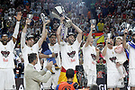 Real Madrid's Felipe Reyes, Marcus Slaughter, Andres Nocioni, Gustavo Ayon, Jaycee Carroll and Jonas Maciulis celebrate the victory in the Euroleague Final Match in presence of King Felipe VI of Spain. May 15,2015. (ALTERPHOTOS/Acero)