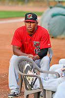 Jaider Rocha (19) of the Great Falls Voyagers before the game against the Ogden Raptors in Pioneer League action at Lindquist Field on August 17, 2016 in Ogden, Utah. Ogden defeated Great Falls 5-2. (Stephen Smith/Four Seam Images)