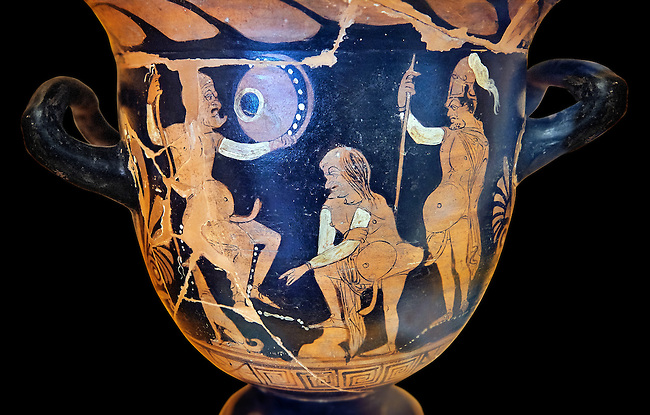 Erotic attica style krater with red figures made in Saticula; present day Sant'Agata de' Goti produczione capuana; attributed to Painter Parrish around 350 B.C, inv 81926,  Secret Museum or Secret Cabinet, Naples National Archaeological Museum , black background