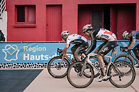 finish sprint led by Sonny Colbrelli (ITA/Bahrain - Victorious) followed by Florian Vermeersch (BEL/Lotto Soudal) and Mathieu van der Poel (NED/Alpecin Fenix) <br /> <br /> 118th Paris-Roubaix 2021 (1.UWT)<br /> One day race from Compiègne to Roubaix (FRA) (257.7km)<br /> <br /> ©kramon