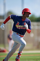 GCL Cardinals center fielder Carlos Soler (43) runs to first base during a game against the GCL Marlins on August 4, 2018 at Roger Dean Chevrolet Stadium in Jupiter, Florida.  GCL Marlins defeated GCL Cardinals 6-3.  (Mike Janes/Four Seam Images)