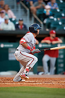 Syracuse Chiefs left fielder Yadiel Hernandez (5) bats during a game against the Buffalo Bisons on July 6, 2018 at Coca-Cola Field in Buffalo, New York.  Buffalo defeated Syracuse 6-4.  (Mike Janes/Four Seam Images)