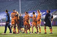 1st May 2021; Recreation Ground, Bath, Somerset, England; European Challenge Cup Rugby, Bath versus Montpellier; Montpellier players celebrate winning 10-19