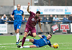 Montrose v St Johnstone…21.07.18…  Links Park    League Cup<br />Drey Wright is taken out by former saint Paddy Cregg<br />Picture by Graeme Hart. <br />Copyright Perthshire Picture Agency<br />Tel: 01738 623350  Mobile: 07990 594431
