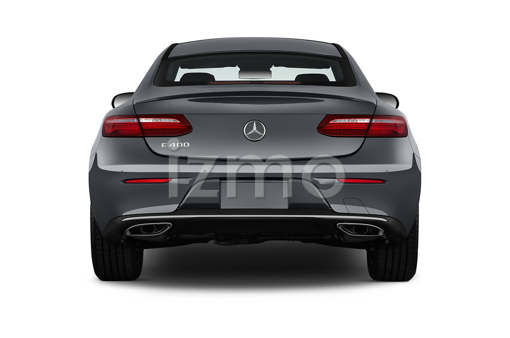 Straight rear view of a 2018 Mercedes Benz E-Class E400 2 Door Coupe stock images