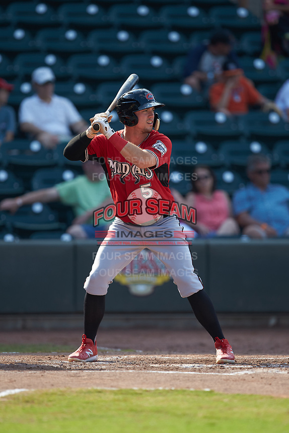 Tristen Lutz (5) of the Carolina Mudcats at bat against the Winston-Salem Dash at BB&T Ballpark on June 1, 2019 in Winston-Salem, North Carolina. The Mudcats defeated the Dash 6-3 in game one of a double header. (Brian Westerholt/Four Seam Images)