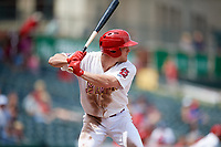Memphis Redbirds center fielder Harrison Bader (3) at bat during a game against the Iowa Cubs on May 29, 2017 at AutoZone Park in Memphis, Tennessee.  Memphis defeated Iowa 6-5.  (Mike Janes/Four Seam Images)