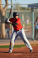 Andres Rivera (53), from Pasadena, California, while playing for the Red Sox during the Under Armour Baseball Factory Recruiting Classic at Red Mountain Baseball Complex on December 29, 2017 in Mesa, Arizona. (Zachary Lucy/Four Seam Images)
