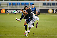 SAN JOSE, CA - SEPTEMBER 16: Andy Rios #25 of the San Jose Earthquakes and Diego Chara #21 of the Portland Timbers attempt to play the ball during a game between Portland Timbers and San Jose Earthquakes at Earthquakes Stadium on September 16, 2020 in San Jose, California.