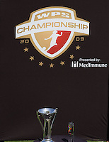The WPS trophy.  The Sky Blue FC defeated the LA Sol 1-0 to win the WPS Final Championship match at Home Depot Center stadium in Carson, California on Saturday, August 22, 2009...