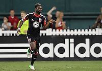 WASHINGTON, DC. - AUGUST 22, 2012:  Brandon McDonald (4) of DC United after scoring against the Chicago Fire during an MLS match at RFK Stadium, in Washington DC,  on August 22. United won 4-2.
