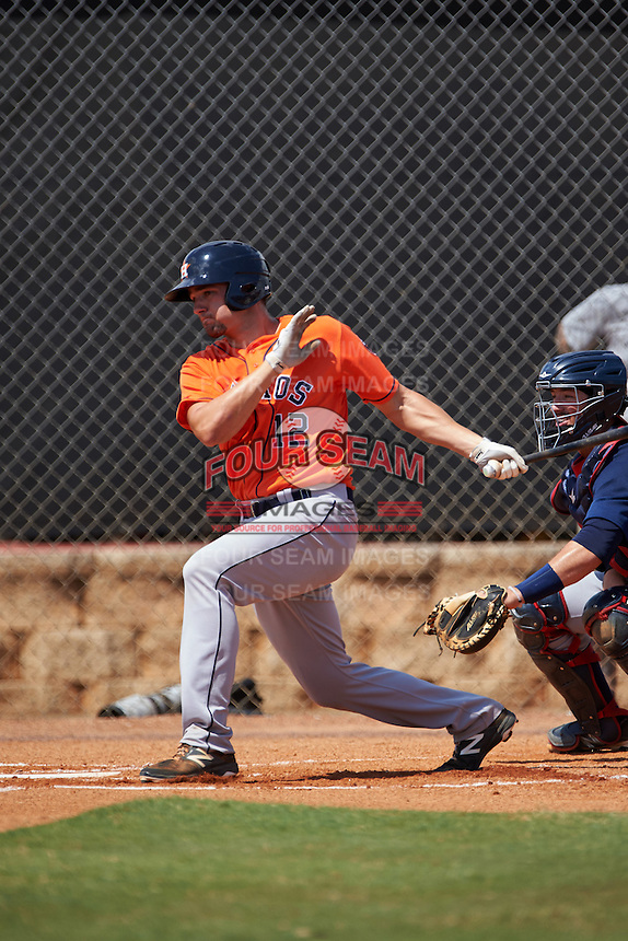 Houston Astros first baseman Spencer Johnson (12) during an Instructional League game against the Atlanta Braves on September 26, 2016 at Osceola County Stadium Complex in Kissimmee, Florida.  (Mike Janes/Four Seam Images)