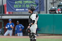 Visalia Rawhide catcher Tim Susnara (6) during a California League game against the Rancho Cucamonga Quakes on April 8, 2019 in Visalia, California. Rancho Cucamonga defeated Visalia 4-1. (Zachary Lucy/Four Seam Images)