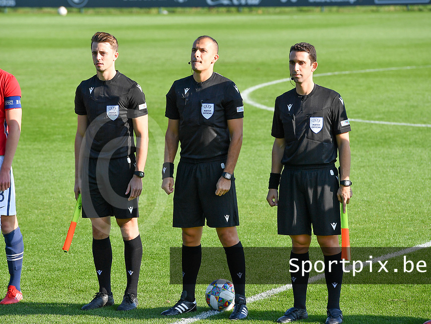 referees pictured with Belgian Michele Seeldraeyers , Cypriotic Nikolas Neokleous and CyprioticKyriakos Sokratous (r) during a soccer game between the national teams Under17 Youth teams of  Norway and Luxemburg on day 2 in the Qualifying round in group 3 on saturday 9 th of October 2020  in Tubize , Belgium . PHOTO SPORTPIX | DAVID CATRY