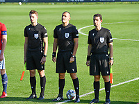 referees pictured with Belgian Michele Seeldraeyers , Cypriotic Nikolas Neokleous and CyprioticKyriakos Sokratous (r) during a soccer game between the national teams Under17 Youth teams of  Norway and Luxemburg on day 2 in the Qualifying round in group 3 on saturday 9 th of October 2020  in Tubize , Belgium . PHOTO SPORTPIX   DAVID CATRY