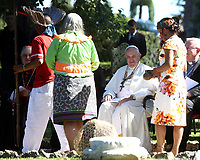 Pope Francis greets members of an indigenous community of the Amazon during celebrations for the Feast of Saint Francis of Assisi in the Vatican Garden at the Vatican, on October 4, 2019.<br /> UPDATE IMAGES PRESS/Isabella Bonotto<br /> <br /> STRICTLY ONLY FOR EDITORIAL USE