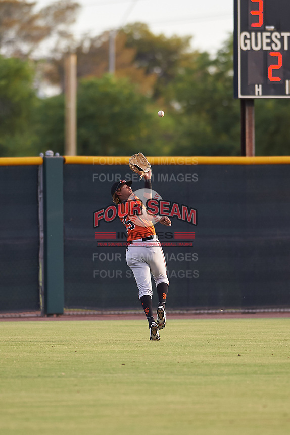 AZL Giants Orange left fielder Ismael Alcantara (85) makes a running catch during an Arizona League game against the AZL Giants Black on July 19, 2019 at the Giants Baseball Complex in Scottsdale, Arizona. The AZL Giants Black defeated the AZL Giants Orange 8-5. (Zachary Lucy/Four Seam Images)