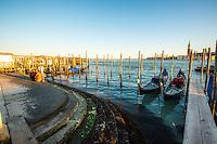 Gondolas waiting in Venice, Italy