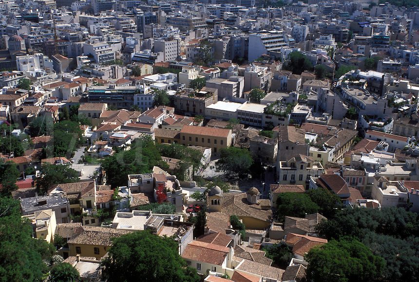 aerial, Athens, Plaka, Greece, Europe, Aerial view of the Plaka in downtown Athens from the Acropolis.