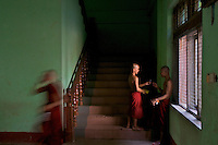 Daily life at a large Buddhist Monastery Yangon, Myanmar