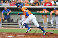 Tennessee Smokies Nico Hoerner (5) runs to first base during a game against the Biloxi Shuckers on August 10, 2019 in Kodak, Tennessee. The Shuckers defeated the Smokies 7-3. (Tony Farlow/Four Seam Images)