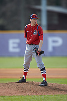 NJIT Highlanders relief pitcher Brett Lubreski (18) looks to his catcher for the sign against the High Point Panthers at Williard Stadium on February 18, 2017 in High Point, North Carolina. The Panthers defeated the Highlanders 11-0 in game one of a double-header. (Brian Westerholt/Four Seam Images)