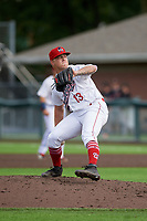 Auburn Doubledays pitcher Trey Turner (13) during a NY-Penn League game against the Batavia Muckdogs on September 2, 2019 at Falcon Park in Auburn, New York.  Batavia defeated Auburn 7-0.  (Mike Janes/Four Seam Images)
