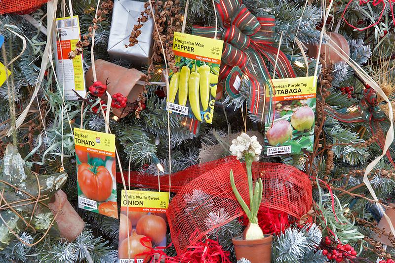 Christmas decorations on Christmas tree theme-garden. Al's Nursery. Woodburn. Oregon