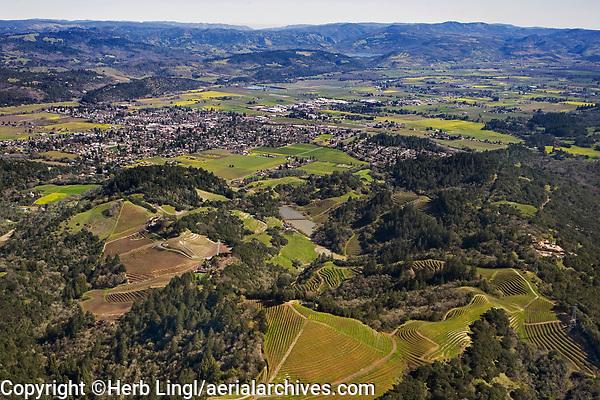 aerial photograph mountain vineyards in the Mayacamas Mountains toward the Napa Valley, Napa County, California in spring