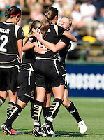 09 August 2009:  Rachel Buehler of the Gold Pride hugs with Brandi Chastain after Buehler scored a goal during the first half of the game against Saint Louis Athletica at Buck Shaw Stadium in Santa Clara, California.   FC Gold Pride tied Saint Louis Athletica, 1-1.