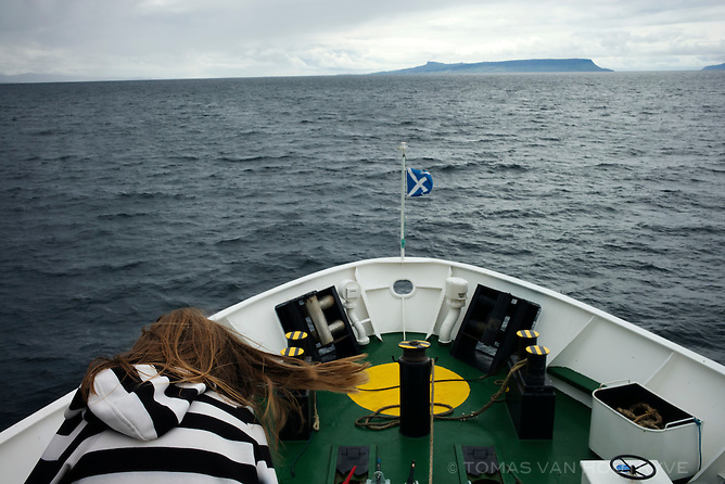 On the ferry boat heading toward the Isle of Eigg, in Scotland.