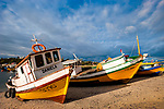 Colorful wooden boats at Calbuco, Chile, South America
