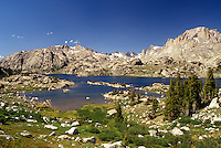 Wind River Range, Bridger-Teton National Forest, WY, Wyoming, Scenic view of Island Lake in the Wind River Range Mountains in the Bridger-Teton Nat'l Forest in Wyoming.