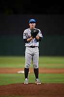 Hudson Valley Renegades Trey Cumbie (36) looks in for the sign during a game against the Auburn Doubledays on September 5, 2018 at Falcon Park in Auburn, New York.  Hudson Valley defeated Auburn 11-5.  (Mike Janes/Four Seam Images)