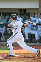 Tucker Frawley #8 of the Coastal Carolina University Chanticleers at bat against the Boston College Eagles at Watson Stadium at Vrooman Field in Conway, South Carolina on February 18, 2011. Photo by Robert Gurganus/Four Seam Images