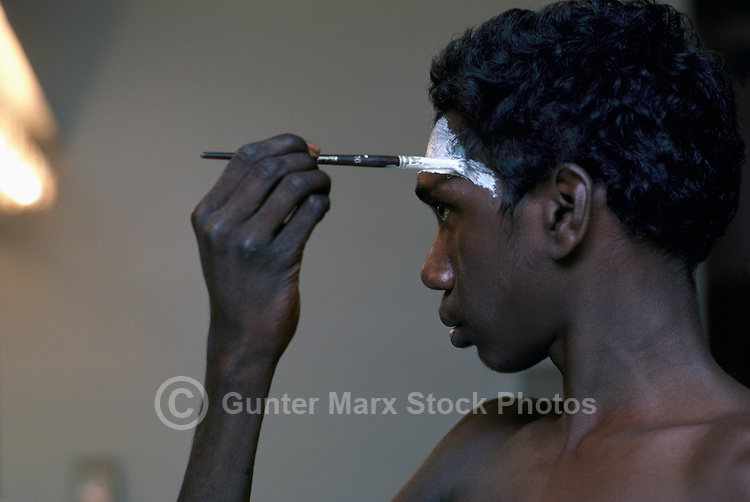 Aboriginal Australian / Australian Aborigine painting Face Backstage in preparation for Dancing Stage Performance (No Model Release Available)