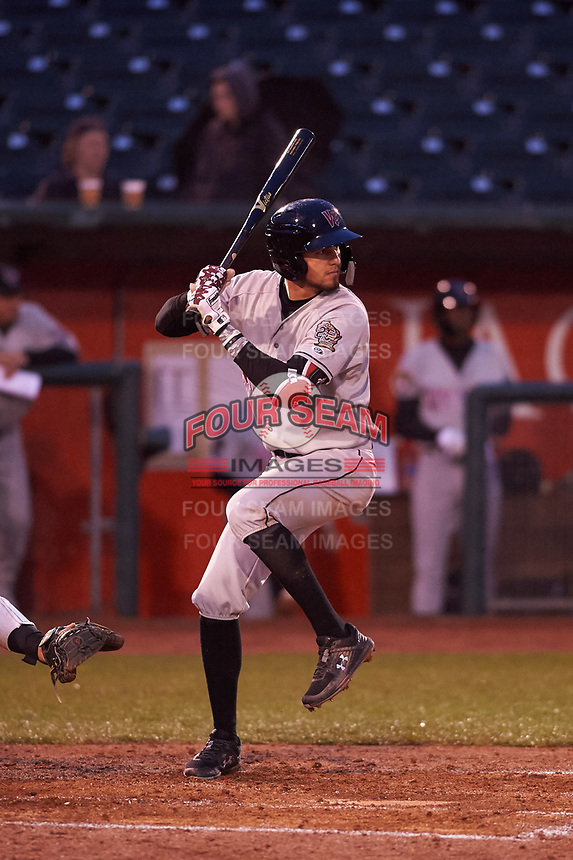 Wisconsin Timber Rattlers Antonio Pinero (3) at bat during a Midwest League game against the Lansing Lugnuts at Cooley Law School Stadium on May 2, 2019 in Lansing, Michigan. Lansing defeated Wisconsin 10-4. (Zachary Lucy/Four Seam Images)