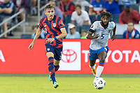 KANSAS CITY, KS - JULY 11: Sam Vines #3 of the United States passes the ball during a game between Haiti and USMNT at Children's Mercy Park on July 11, 2021 in Kansas City, Kansas.