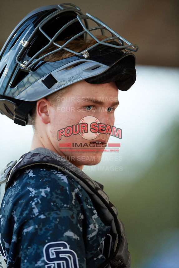 Charlie Welch (26) while playing for Padres Scout Team/Scorpions based out of Altamonte Springs, Florida during the WWBA World Championship at the Roger Dean Complex on October 21, 2017 in Jupiter, Florida.  Charlie Welch is a catcher from Clearwater, Florida who attends Florida Virtual High School.  (Mike Janes/Four Seam Images)