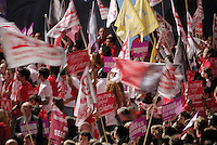Young socialist militants at a meeting of French Presidential election candidate Ségolène Royal on March 22nd, 2007, in  Marseille, France.