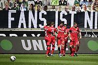 23rd May 2020, BORUSSIA-PARK, North Rhine-Westphalia, Germany; Bundesliga football, Borussia Moenchengladbach versus Bayer Leverkusen;  Leverkusens  Kai Havertz  celebrates scoring for 0:1 with team mates in the 7th minute