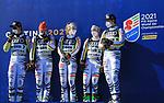 FIS Alpine World Ski Championships 2021 Cortina . Cortina d'Ampezzo, Italy on February 17, 2021. Alpine Team Event, Alpine Team Event, German Team Emma Aicher, Lena Dürr, Andrea Filser, Stefan Luitz, Alexander Schmid and Linus Straßer from Germany